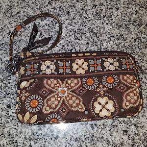 Vera Bradley Wristlet Wallet Large Brown + Orange